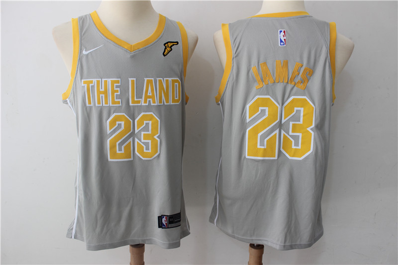 Men Cleveland Cavaliers 23 James Grey New Nike Season NBA Jerseys