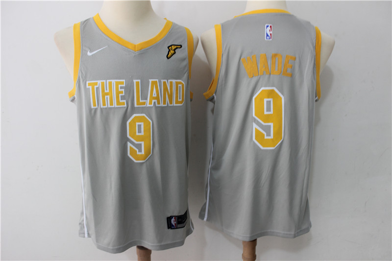 Men Cleveland Cavaliers 9 Dwyane Wade Grey New Nike Season NBA Jerseys