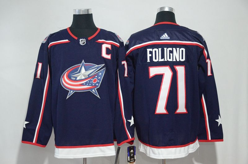Men Columbus Blue Jackets 71 Foligno Blue Hockey Stitched Adidas NHL Jerseys