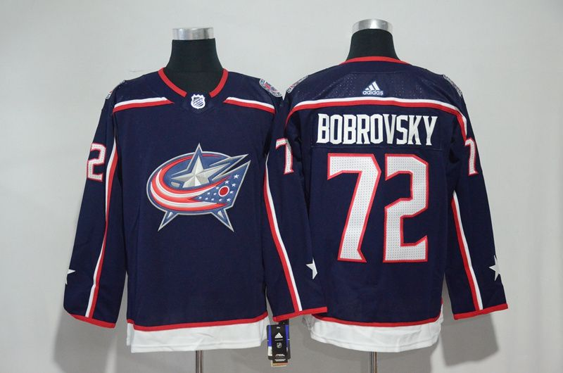 Men Columbus Blue Jackets 72 Bobrovsky Blue Hockey Stitched Adidas NHL Jerseys