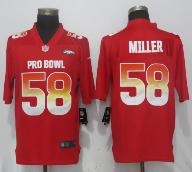 Men Denver Broncos 58 Miller Red New Nike Royal 2018 Pro Bowl Limited NFL Jerseys