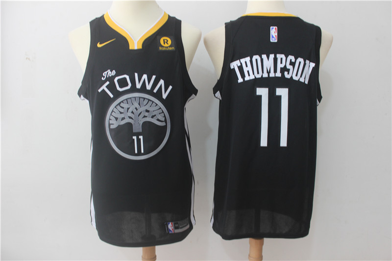 Men Golden State Warriors 11 Thompson Black Game Nike NBA Jerseys