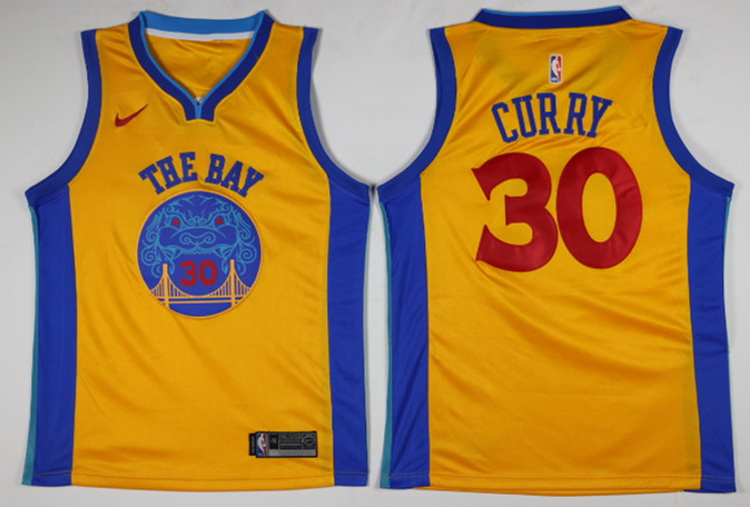 Men Golden State Warriors 30 Curry Yellow Game Nike NBA Jerseys