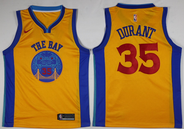 Men Golden State Warriors 35 Durant Yellow Game Nike NBA Jerseys