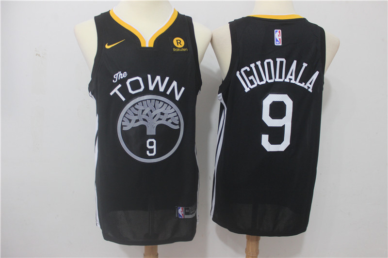 Men Golden State Warriors 9 Iguodala Black Game Nike NBA Jerseys