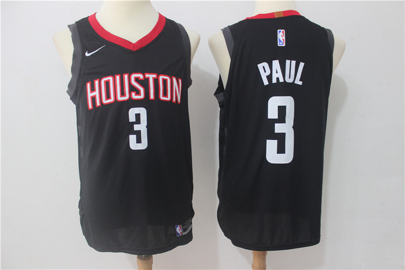 Men Houston Rockets 3 Paul Black Game Nike NBA Jerseys