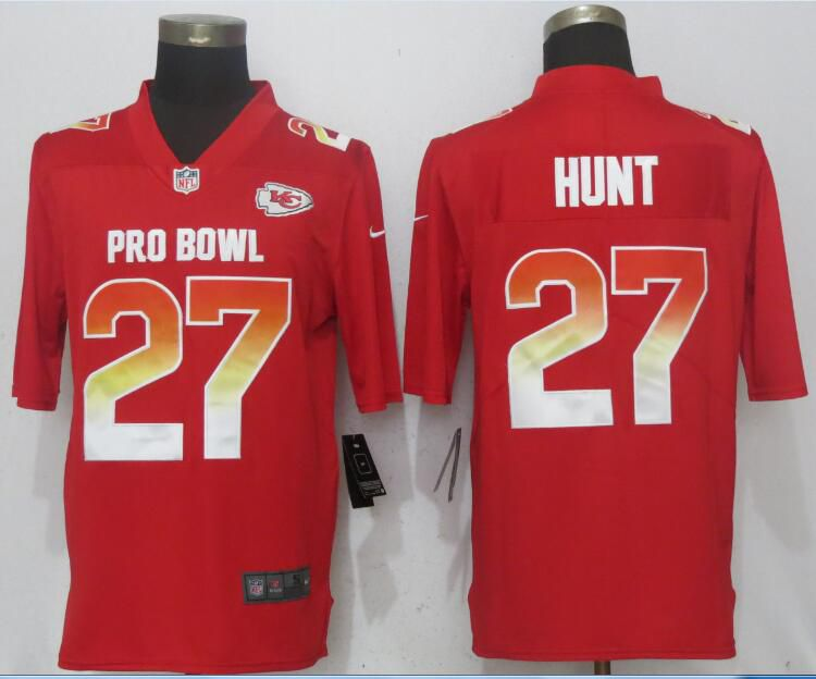Men Kansas City Chiefs 27 Hunt Red New Nike Royal 2018 Pro Bowl Limited NFL Jerseys