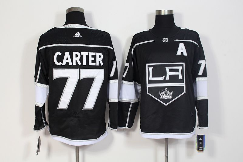 Men Los Angeles Kings 77 Carter Black Hockey Stitched Adidas NHL Jerseys