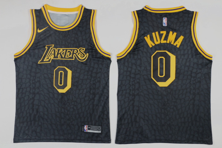 Men Los Angeles Lakers 0 Kuzma Black Game Nike NBA Jerseys
