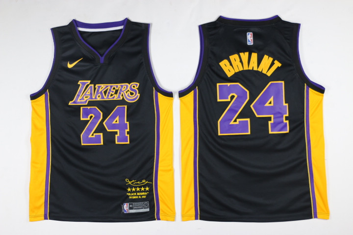 Men Los Angeles Lakers 24 Bryant Black Game Nike NBA Jerseys