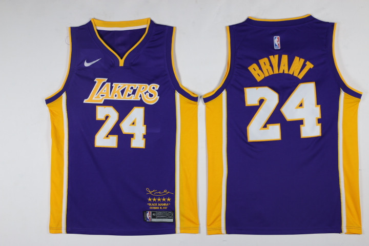 Men Los Angeles Lakers 24 Bryant Purple Game Nike NBA Jerseys