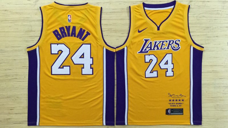 Men Los Angeles Lakers 24 Bryant Yellow Game Nike NBA Jerseys