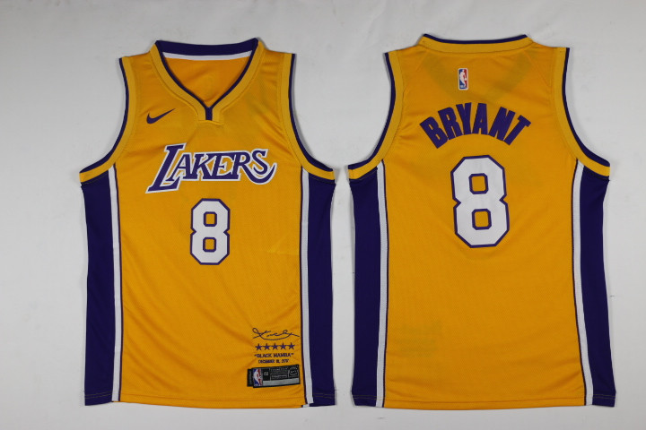 Men Los Angeles Lakers 8 Bryant Yellow Game Nike NBA Jerseys