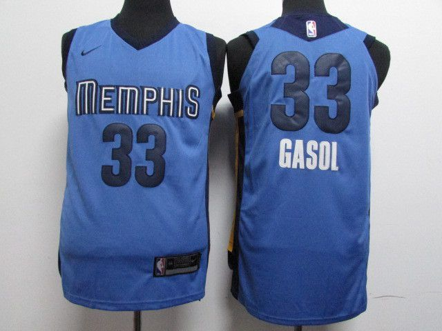 Men Memphis Grizzlies 33 Gasol Blue Nike NBA Jerseys