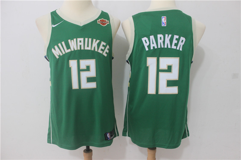 Men Milwaukee Bucks 12 Parker Green Game Nike NBA Jerseys