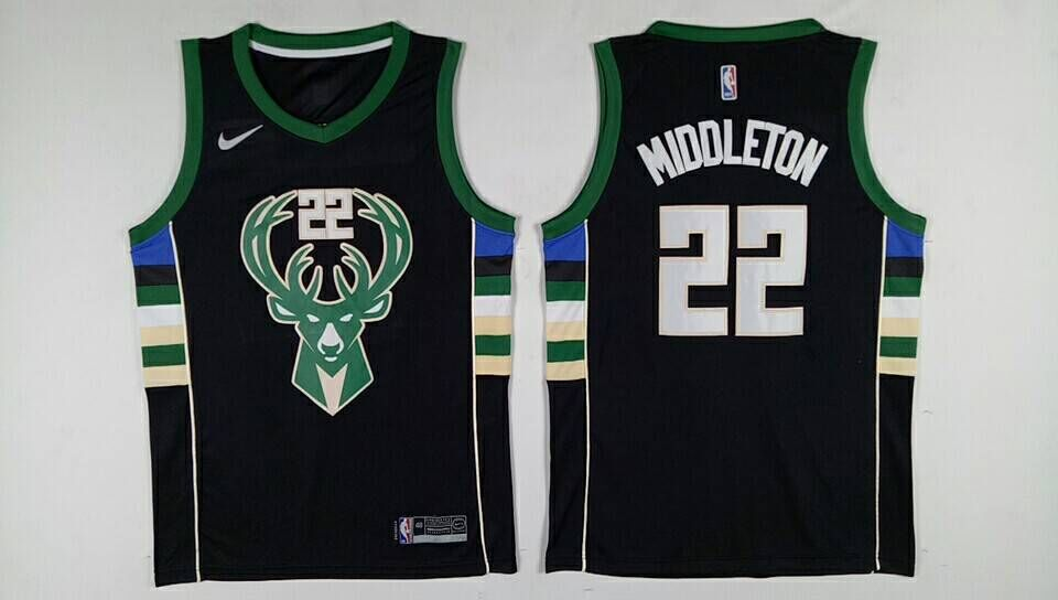 Men Milwaukee Bucks 22 Middleton Black Nike NBA Jerseys