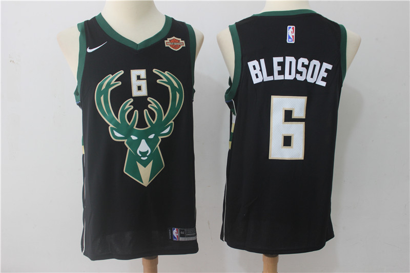 Men Milwaukee Bucks 6 Bledsoe Black Game Nike NBA Jerseys