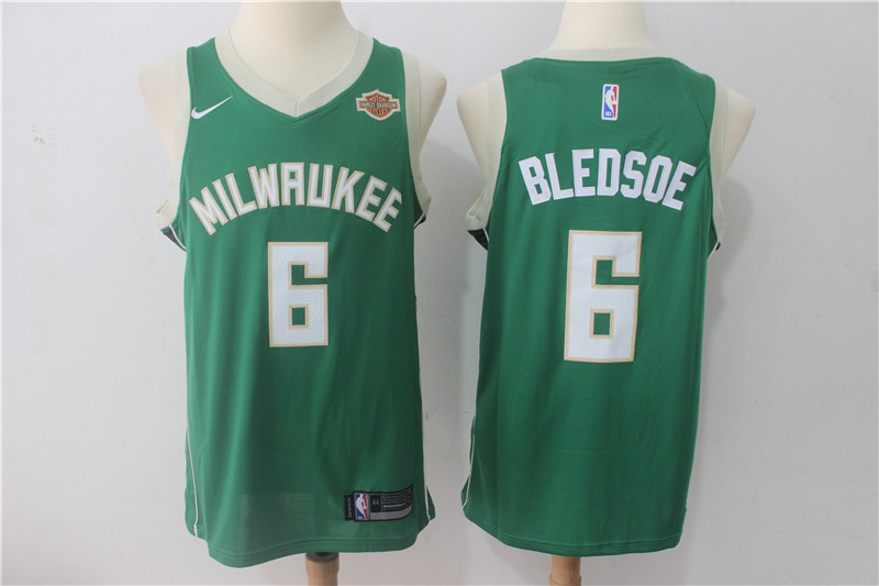 Men Milwaukee Bucks 6 Bledsoe Green Game Nike NBA Jerseys