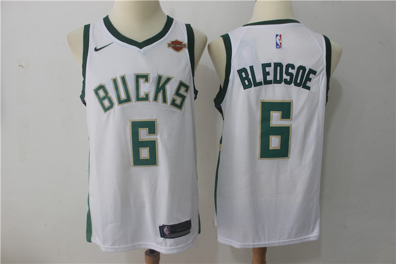 Men Milwaukee Bucks 6 Bledsoe White Game Nike NBA Jerseys