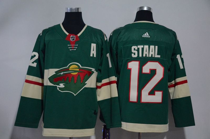 Men Minnesota Wild 12 Staal Green Hockey Stitched Adidas NHL Jerseys