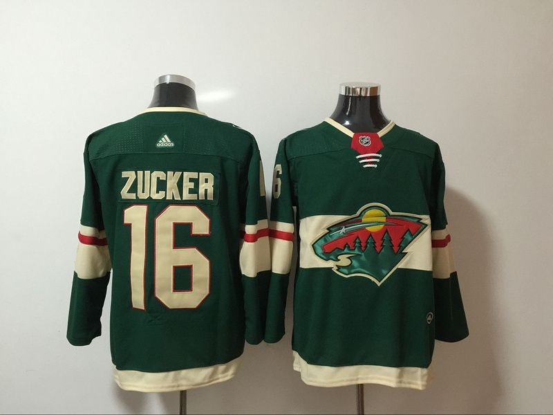 Men Minnesota Wild 16 Zucker Green Hockey Stitched Adidas NHL Jerseys
