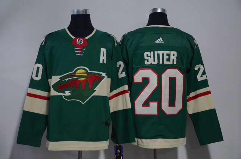 Men Minnesota Wild 20 Suter Green Hockey Stitched Adidas NHL Jerseys