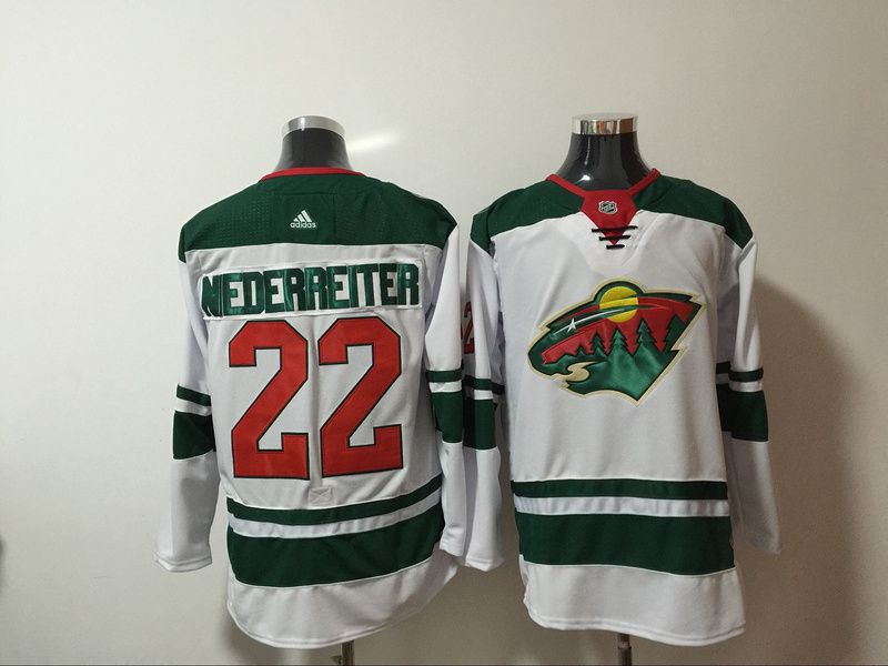 Men Minnesota Wild 22 Nederreiter White Hockey Stitched Adidas NHL Jerseys