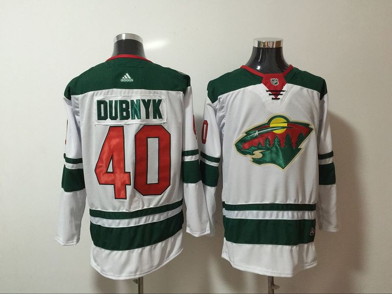 Men Minnesota Wild 40 Dubnyk White Hockey Stitched Adidas NHL Jerseys