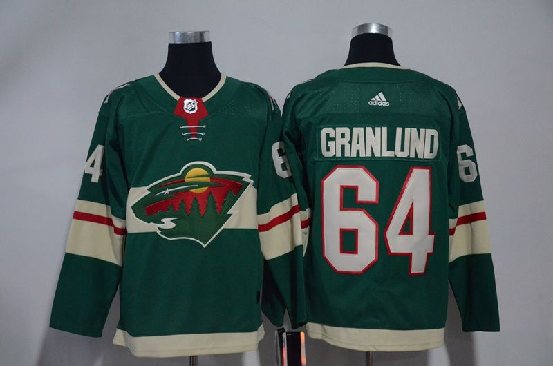 Men Minnesota Wild 64 Granlund Green Hockey Stitched Adidas NHL Jerseys