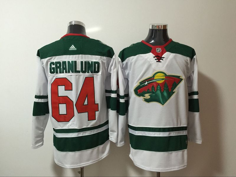 Men Minnesota Wild 64 Granlund White Hockey Stitched Adidas NHL Jerseys