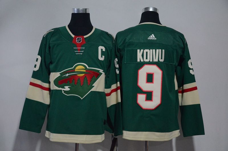 Men Minnesota Wild 9 Koivu Green Hockey Stitched Adidas NHL Jerseys