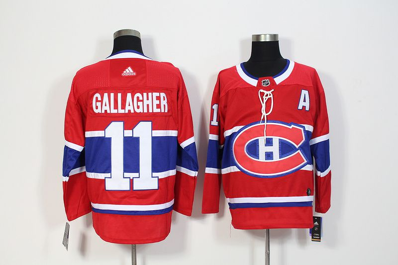 Men Montreal Canadiens 11 Gallagher Red Hockey Stitched Adidas NHL Jerseys