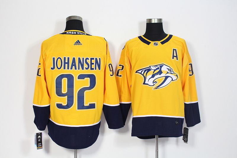Men Nashville Predators 92 Johansen Yellow Hockey Stitched Adidas NHL Jerseys