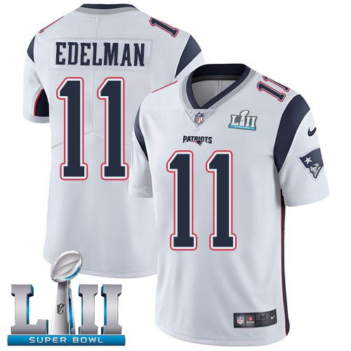 Men New England Patriots 11 Edelman White Limited 2018 Super Bowl NFL Jerseys