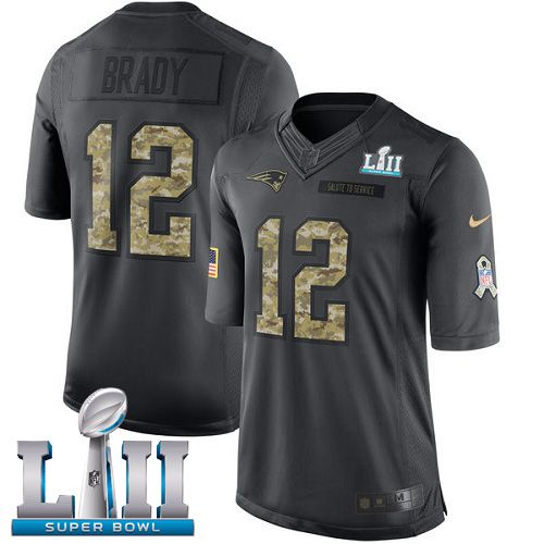 Men New England Patriots 12 Brady Anthracite Salute To Service Limited 2018 Super Bowl NFL Jerseys