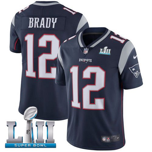Men New England Patriots 12 Brady Blue Limited 2018 Super Bowl NFL Jerseys