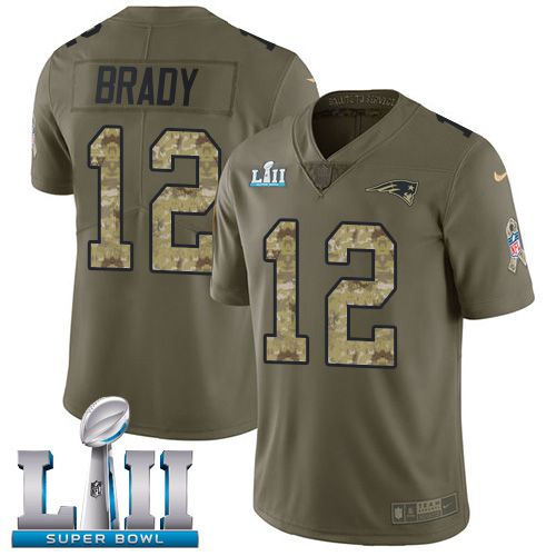 Men New England Patriots 12 Brady Green Salute To Service Limited 2018 Super Bowl NFL Jerseys