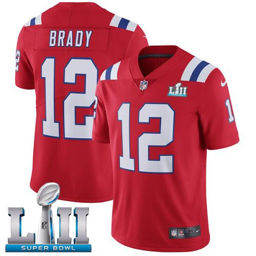 Men New England Patriots 12 Brady Red Color Rush Limited 2018 Super Bowl NFL Jerseys