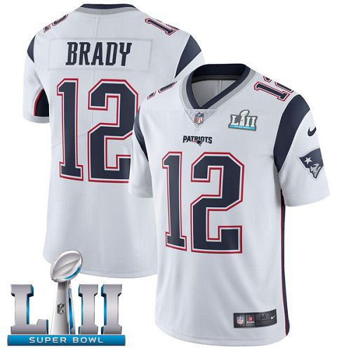 Men New England Patriots 12 Brady White Limited 2018 Super Bowl NFL Jerseys