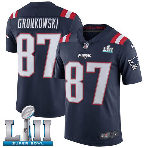 Men New England Patriots 87 Gronkowski Blue Color Rush Limited 2018 Super Bowl NFL Jerseys