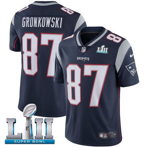 Men New England Patriots 87 Gronkowski Blue Limited 2018 Super Bowl NFL Jerseys