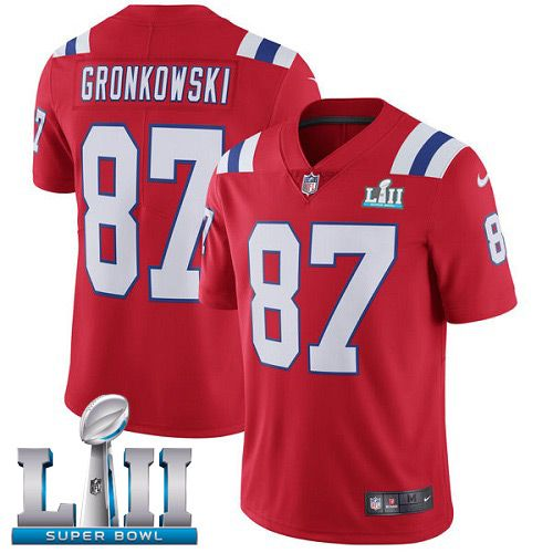 Men New England Patriots 87 Gronkowski Red Color Rush Limited 2018 Super Bowl NFL Jerseys