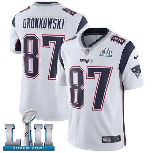 Men New England Patriots 87 Gronkowski White Limited 2018 Super Bowl NFL Jerseys