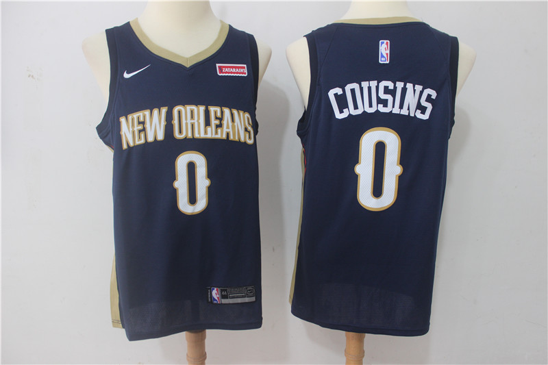 Men New Orleans Pelicans 0 Cousins Blue Game Nike NBA Jerseys