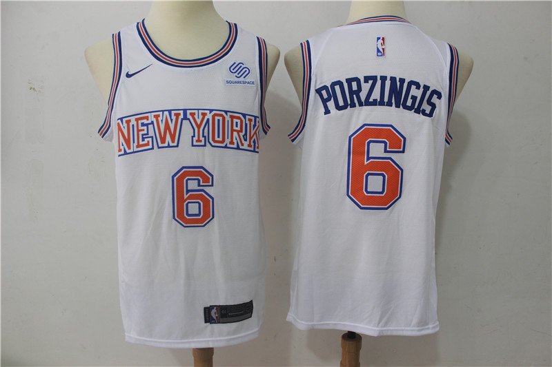 Men New York Knicks 6 Porzingis White Game Nike NBA Jerseys1