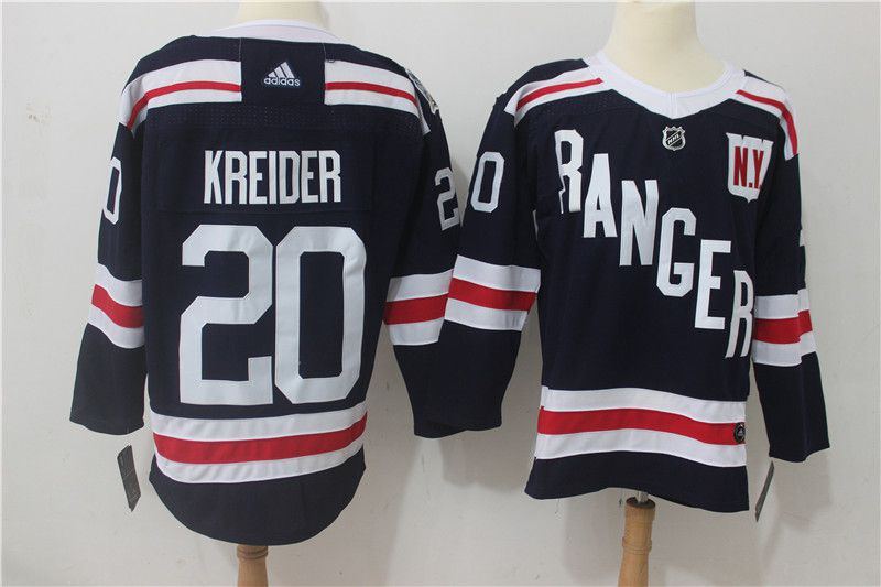 Men New York Rangers 20 Kreider Dark Blue Hockey Stitched Adidas NHL Jerseys