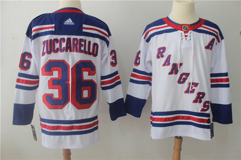 Men New York Rangers 36 Zuccarello White Hockey Stitched Adidas NHL Jerseys