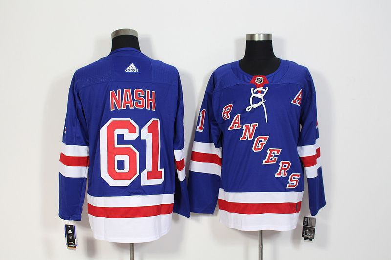 Men New York Rangers 61 Nash Blue Hockey Stitched Adidas NHL Jerseys