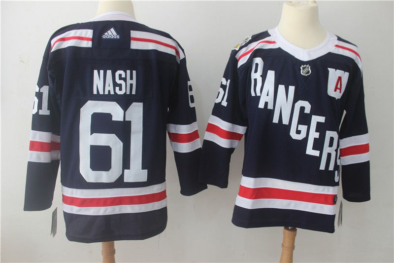 Men New York Rangers 61 Nash Dark Blue Hockey Stitched Adidas NHL Jerseys