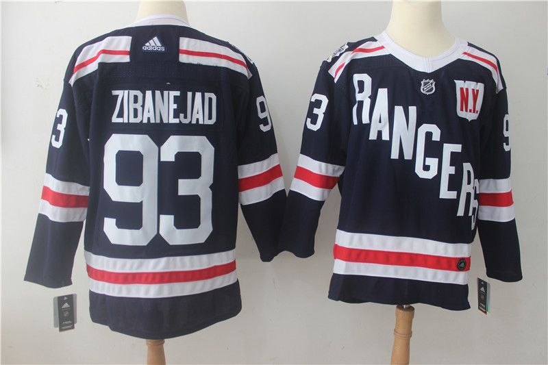 Men New York Rangers 93 Zibanejad Drak Blue Hockey Stitched Adidas NHL Jerseys